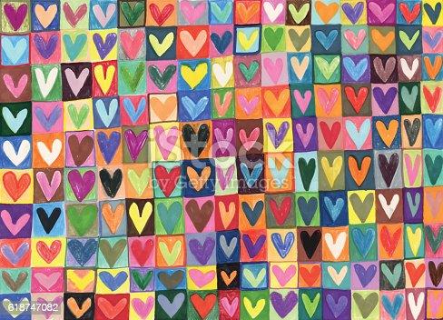 istock Mixed media hand drawn love hearts pattern 618747082