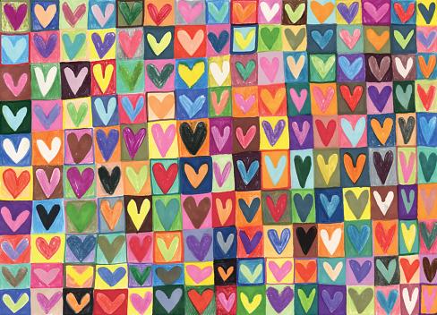 Mixed media hand drawn love hearts pattern