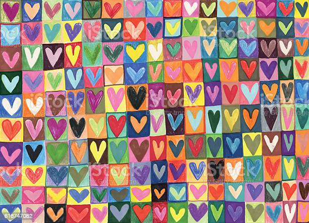 Mixed Media Hand Drawn Love Hearts Pattern Stock Illustration - Download Image Now
