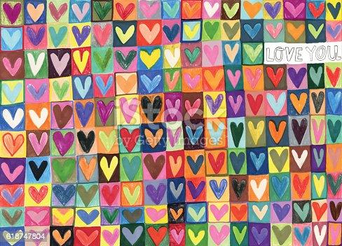 istock Mixed media hand drawn love hearts pattern 618747804