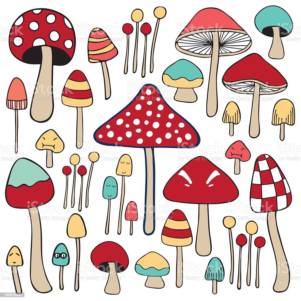 Mixed Mushroom Doodle Color Stock Illustration Download Image