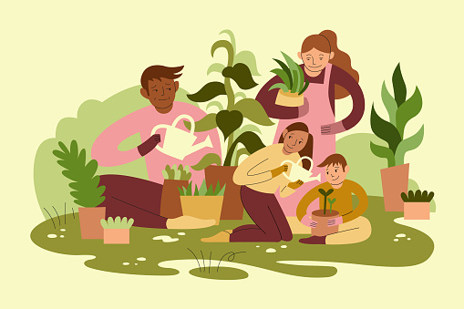 Mixed Race Family Gardening Together