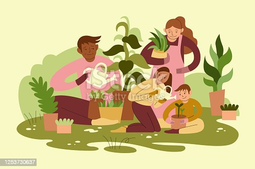 istock Mixed Race Family Gardening Together 1253730637