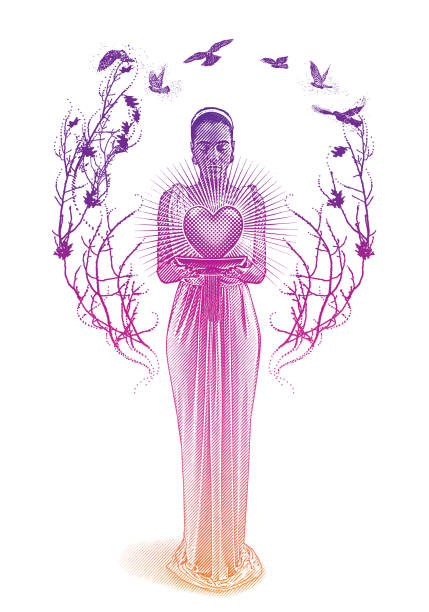 Mixed race romance goddess holding glowing heart. Engraving of a mixed race romance Goddess holding glowing heart. african american valentine stock illustrations