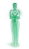 Mixed race romance goddess holding glowing heart.