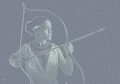 Mixed race woman heroine aiming bow and arrow.