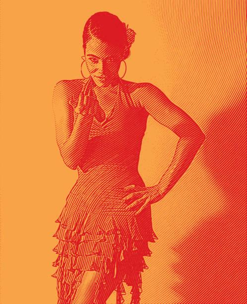 Mixed race woman salsa dancing and flirting gesture. vector art illustration