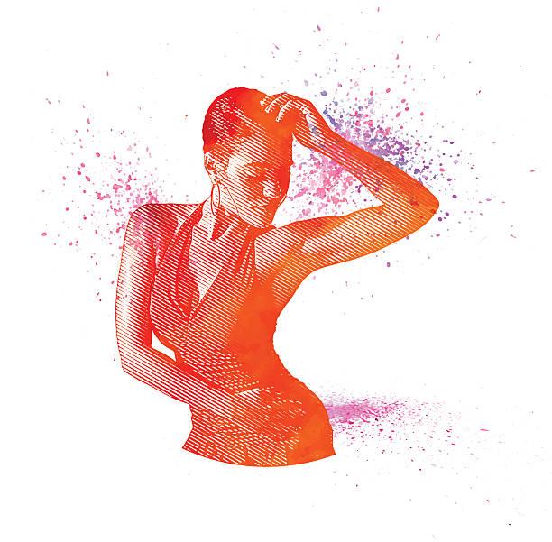 bildbanksillustrationer, clip art samt tecknat material och ikoner med mixed race woman salsa dancing - latino music