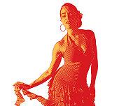 Mixed race woman salsa dancing