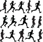 Different people running in silhouette