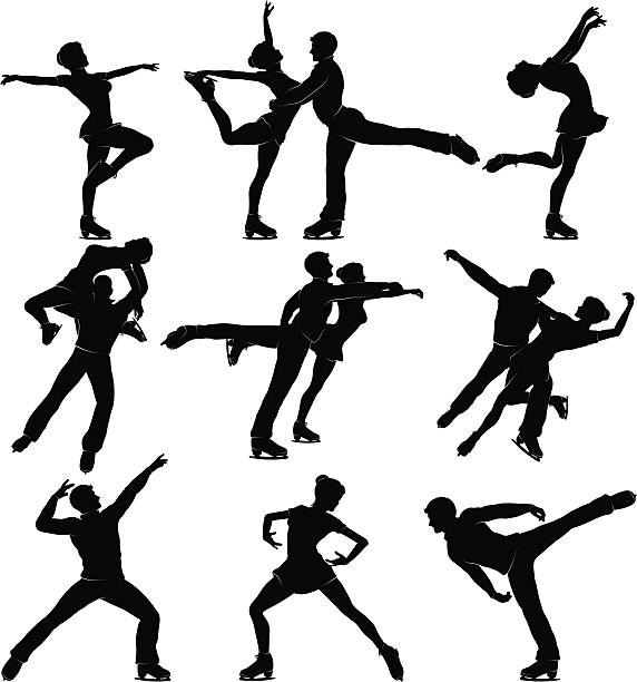 Mixed Skating Silhouettes Detailed silhouettes set of figure skating Silhouettes. figure skating stock illustrations