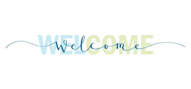 WELCOME mixed typography banner WELCOME blue and green mixed typography banner with brush calligraphy welcome sign stock illustrations