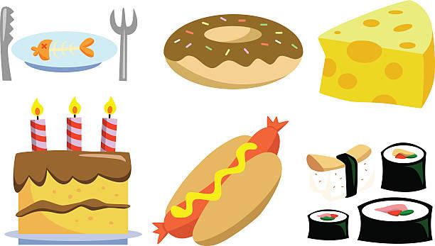 gemischte leckere speisen - lachskuchen stock-grafiken, -clipart, -cartoons und -symbole