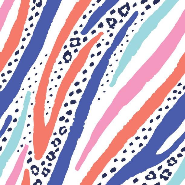 ilustrações de stock, clip art, desenhos animados e ícones de mixed zebra leopard seamless pattern - padrões zebra