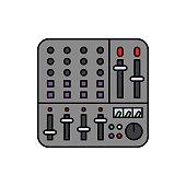 Mixer, controller, audio icon. Element of color music studio equipment icon. Premium quality graphic design icon. Signs and symbols collection icon