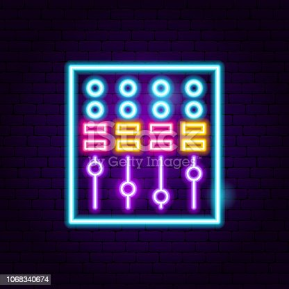 DJ Mixer Neon Sign. Vector Illustration of Music Promotion.