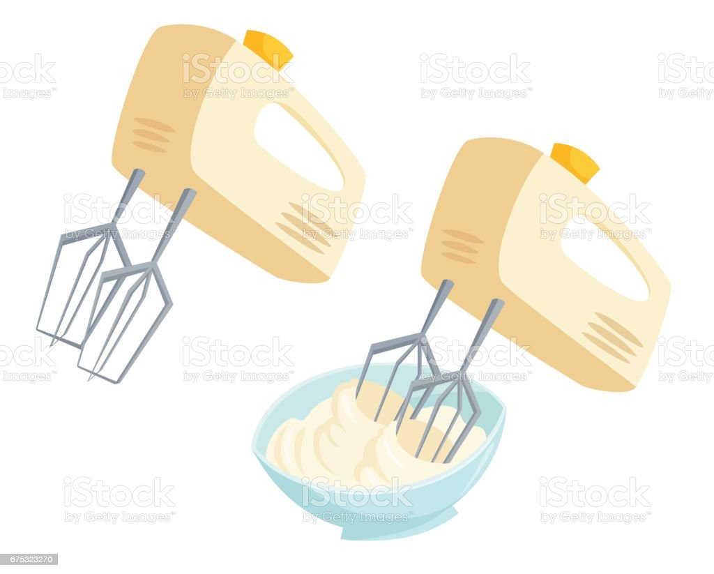 Mixer whipped cream vector art illustration