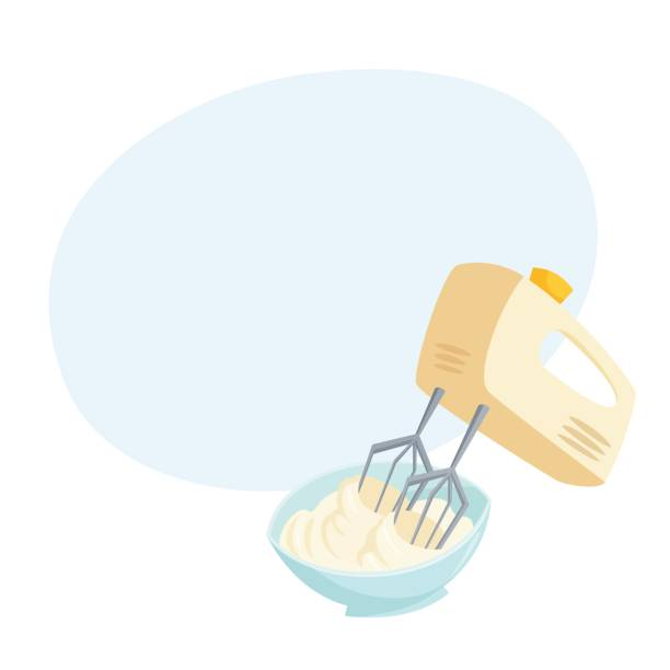 illustrazioni stock, clip art, cartoni animati e icone di tendenza di mixer whipped cream - impastare