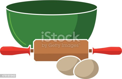 istock mixing bowl, rolling pin and eggs 479181943