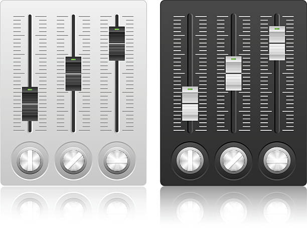 Mixing console icon Mixing console icon on a white background.  sound mixer stock illustrations