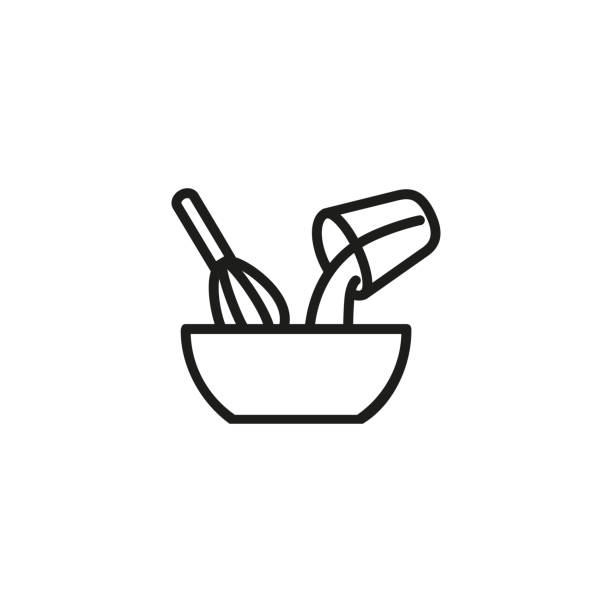 Mixing ingredients line icon Mixing ingredients line icon. Pouring, whipping, whisk. Kitchen utensils concept. Vector illustration can be used for topics like bakery, making cake, recipe cooking icons stock illustrations