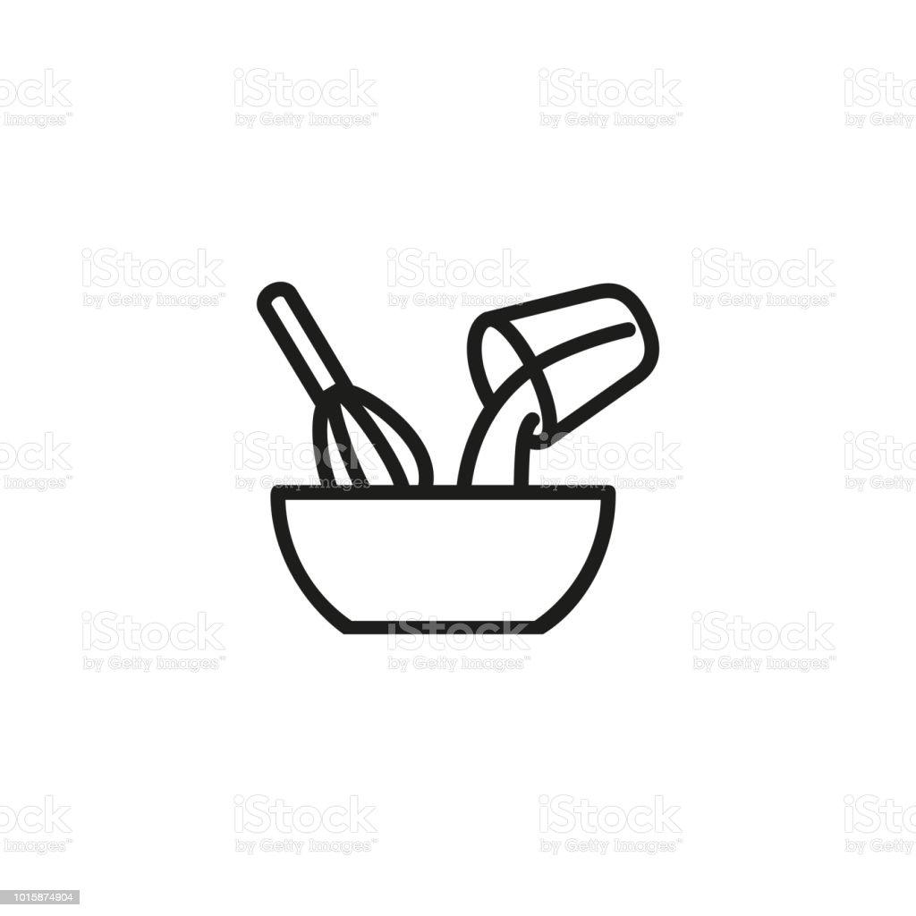 Mixing ingredients line icon vector art illustration