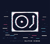 Glitch effect vector icon illustration of mixing music with abstract background.
