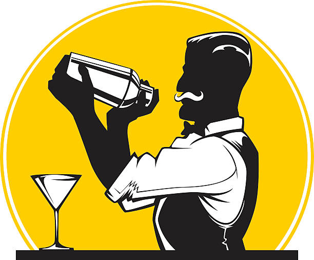 mixologist vector art illustration