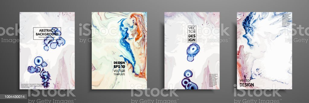 Mixture Of Acrylic Paints Design Template With Fluid Art