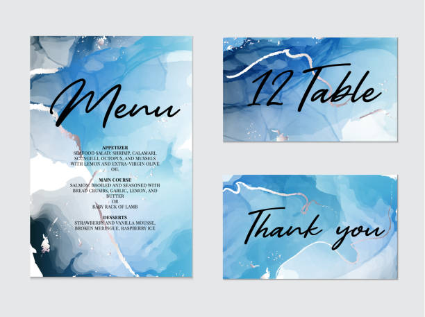 Mixture of acrylic paints for wedding decoration, meny, table, thank you card. Liquid marble texture. Fluid art. Applicable for design cover, presentation, invitation, flyer, annual report, Mixture of acrylic paints for wedding decoration, meny, table, thank you card. Liquid marble texture. Fluid art. Applicable for design cover, presentation, invitation, flyer, annual report cartable stock illustrations