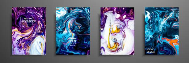 stockillustraties, clipart, cartoons en iconen met mengsel van acrylverf. vloeibaar patroon van marmer. vloeibare art. toepassing voor ontwerp cover, presentatie, uitnodiging, flyer, jaarverslag, poster en visitekaartje, design verpakking. moderne kunstwerken. - marmeren
