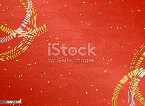 Decoración Mizuhiki y textura de papel japonés fondo rojo con polvo de oro