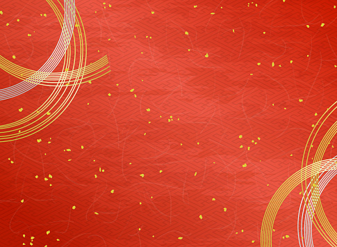Mizuhiki decoration and Japanese paper texture red background with Gold powder