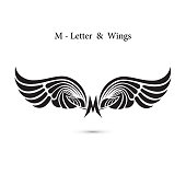 M-letter sign and angel wings.Monogram wing icon.Classic emblem.Elegant dynamic alphabet letters with wings.Creative design element.symbol identity.Flat web design wings icon.