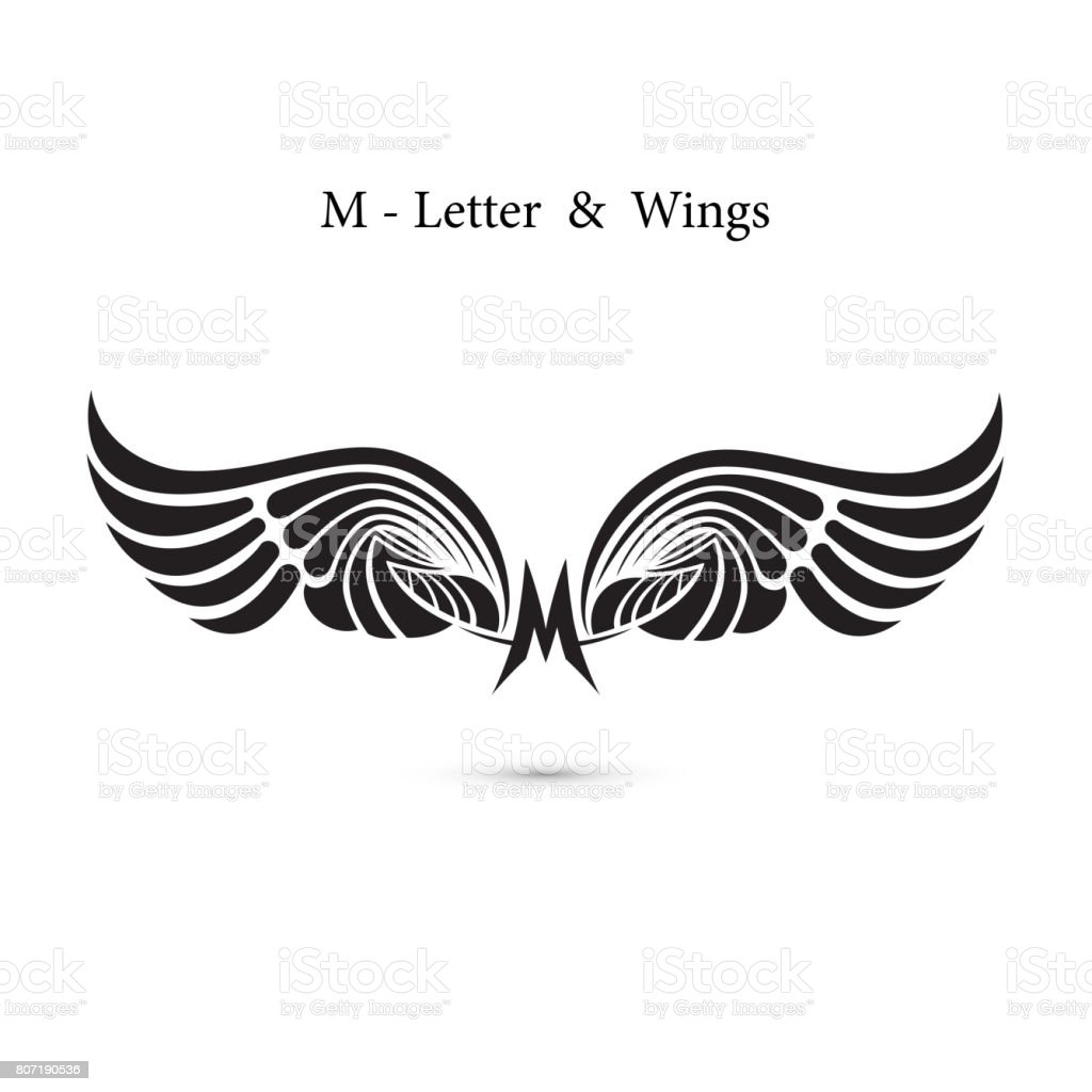 M-letter sign and angel wings.Monogram wing icon.Classic emblem.Elegant dynamic alphabet letters with wings.Creative design element.symbol identity.Flat web design wings icon. vector art illustration
