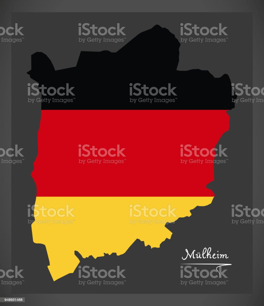 Mülheim City map with German national flag illustration vector art illustration