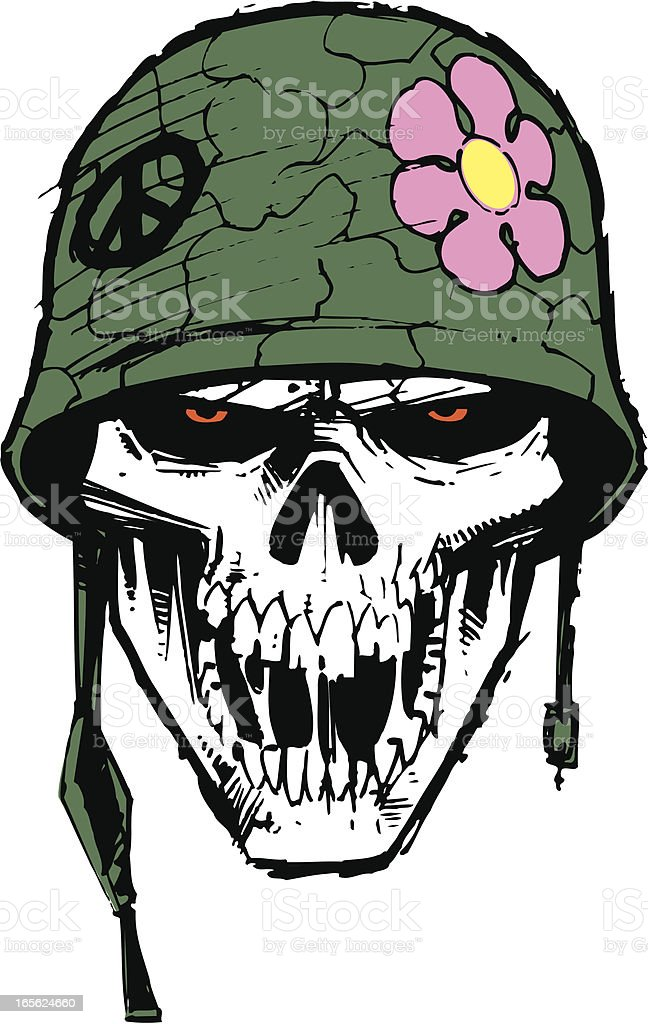 Mlitary Army Skull With Helmet And Flower Stock Vector Art ...