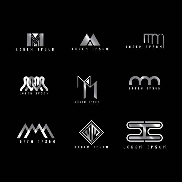 Mm 아이콘 벡터, 디자인 편지 크리에이 티브 글꼴 설정입니다. 벡터 아트 일러스트