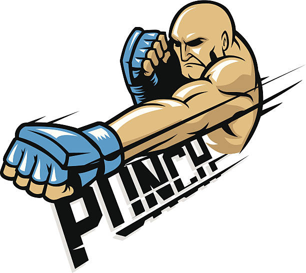 stockillustraties, clipart, cartoons en iconen met mma fighter punch - mma