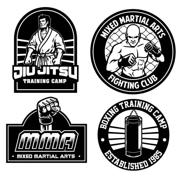 stockillustraties, clipart, cartoons en iconen met mma training camp badge ontwerp - mma