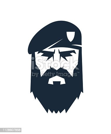 Mаn in beret with beard and mustache. Special Force logo.