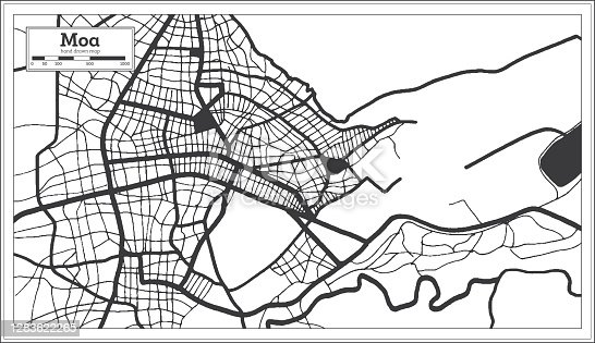 istock Moa Cuba City Map in Black and White Color in Retro Style. Outline Map. 1283622265