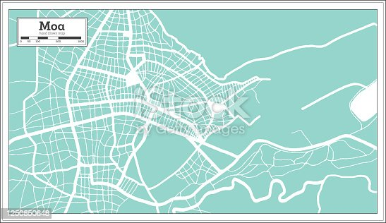 istock Moa Cuba City Map in Retro Style. Outline Map. 1250850648