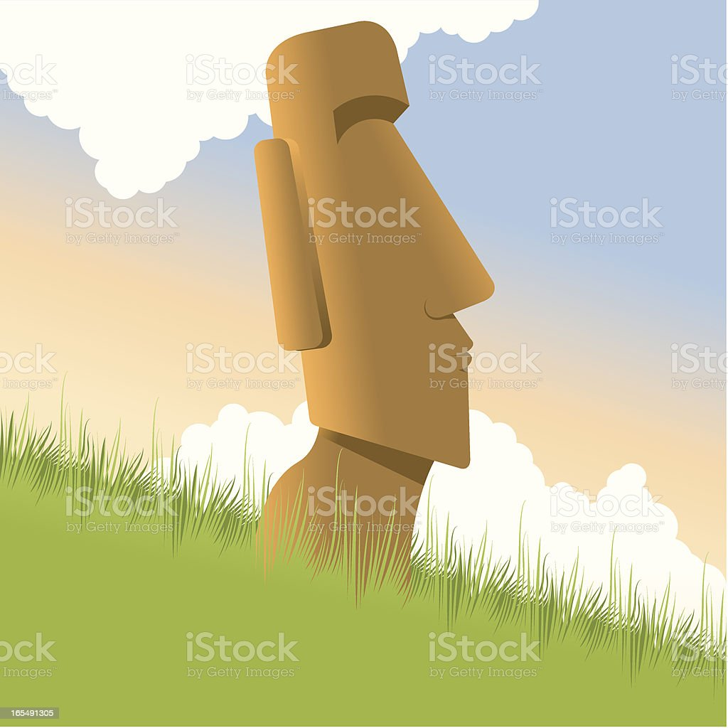 Moai Easter Island vector art illustration