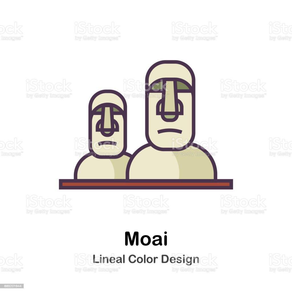 Moai Lineal Color Illustration vector art illustration