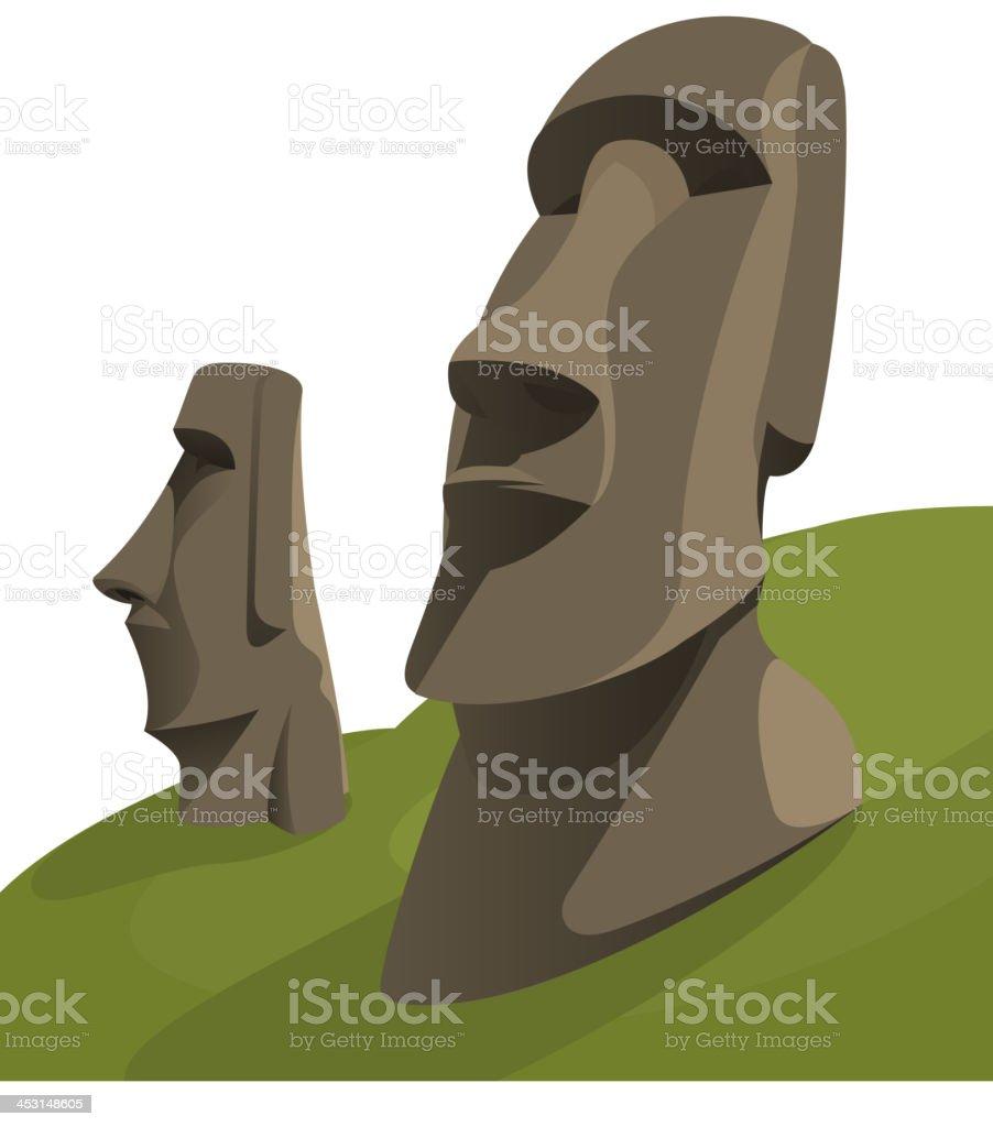 Moai Moais Monolithic Statues Polynesia Easter Island vector art illustration
