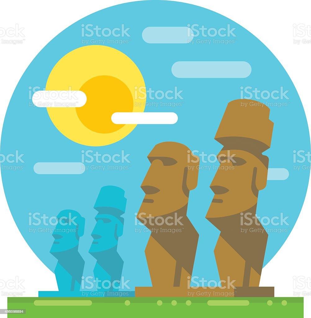 Moai statue flat design landmark vector art illustration