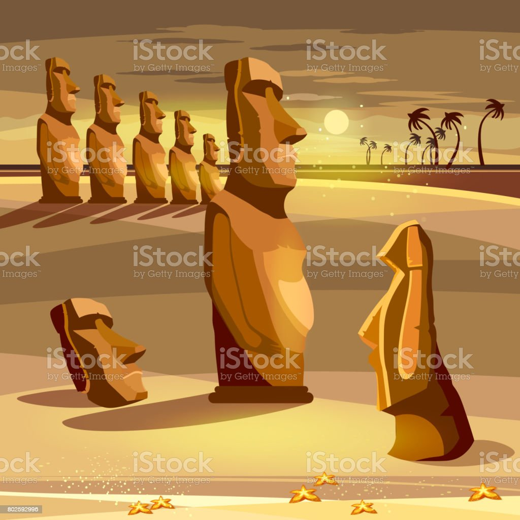 Moai statues of Easter island landscape Polynesia. Stone idols. Tourism and vacation tropical Easter island background vector art illustration