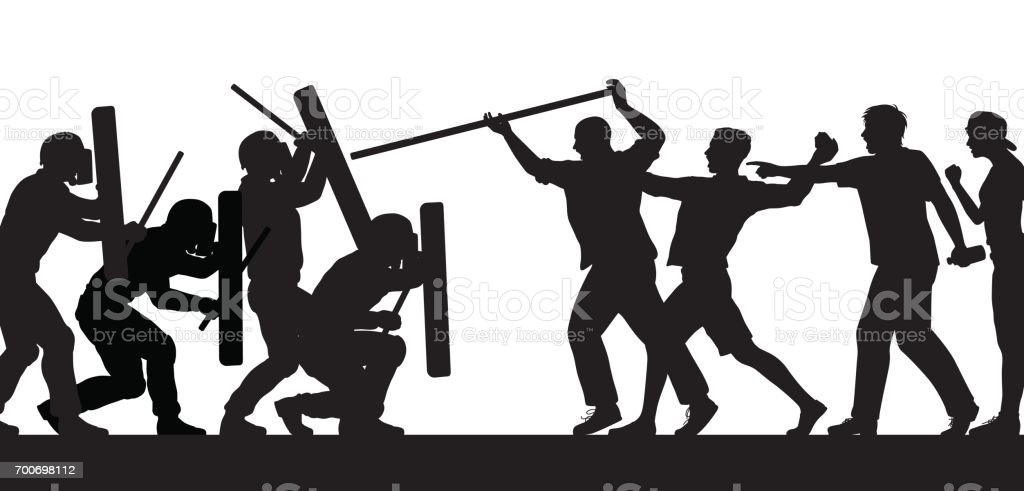 Mob fighting police silhouette vector art illustration
