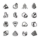 3D Сharts related vector icons for your design and infographic. 16 black and white icons / Set 85